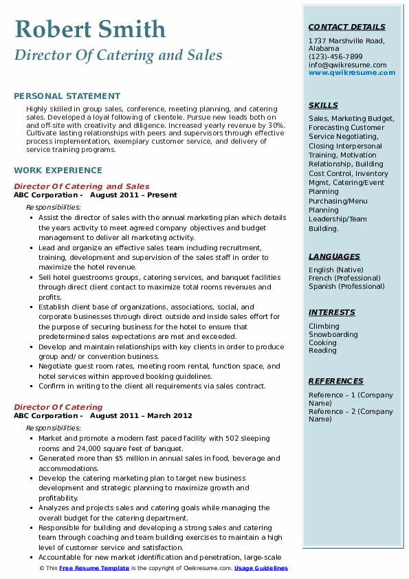 Director Of Catering and Sales Resume Format