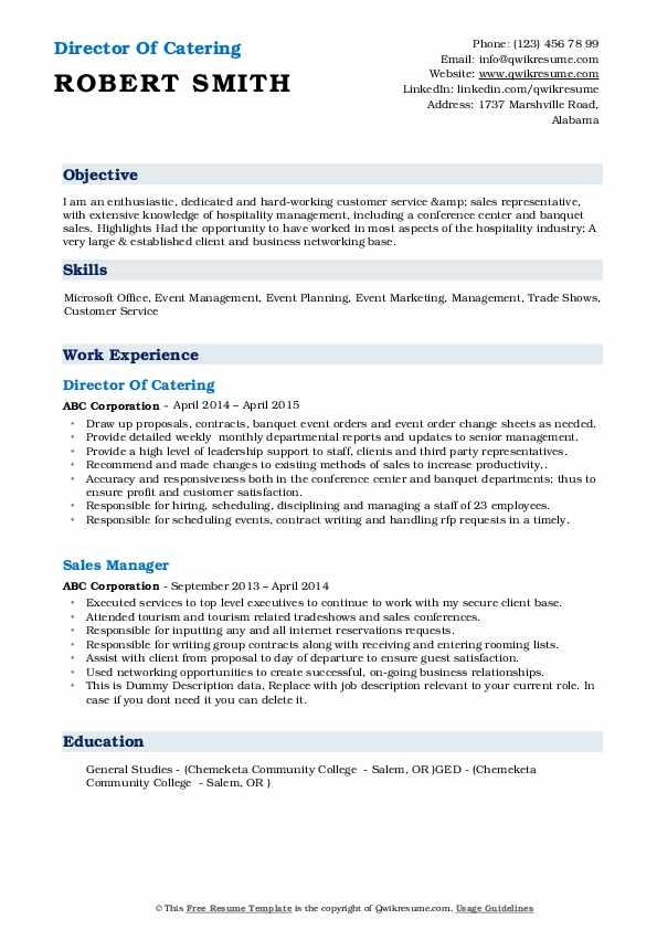 Director Of Catering Resume Model