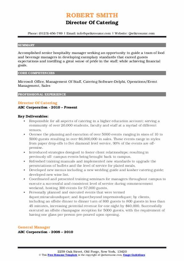 Director Of Catering Resume Template