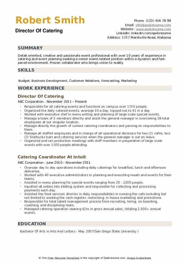 Director of Catering Resume example
