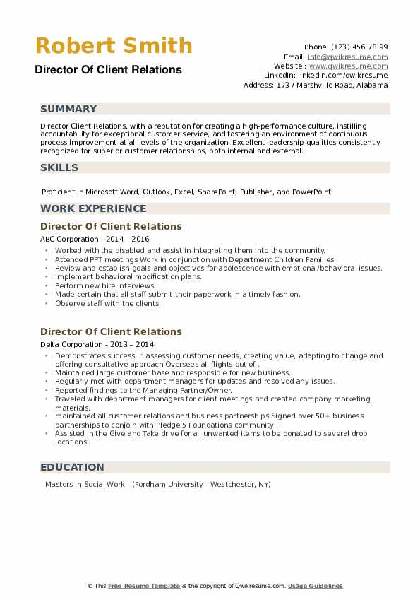 Director Of Client Relations Resume example