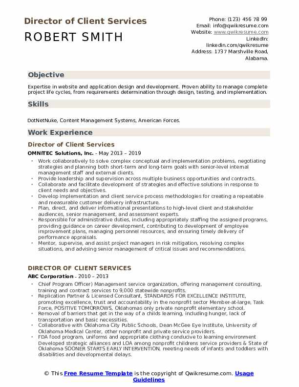 Director of Client Services Resume Format