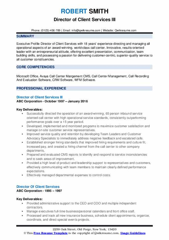 Director of Client Services III Resume Format