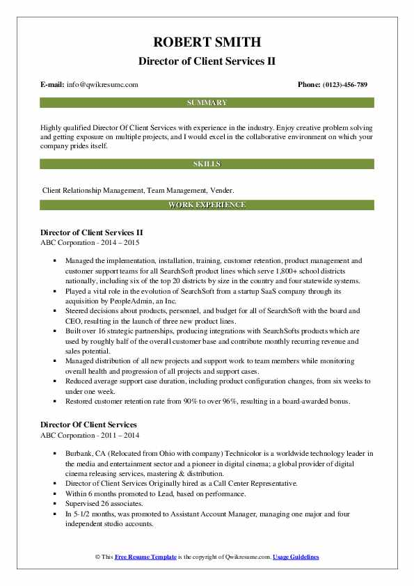 Director of Client Services II Resume Format