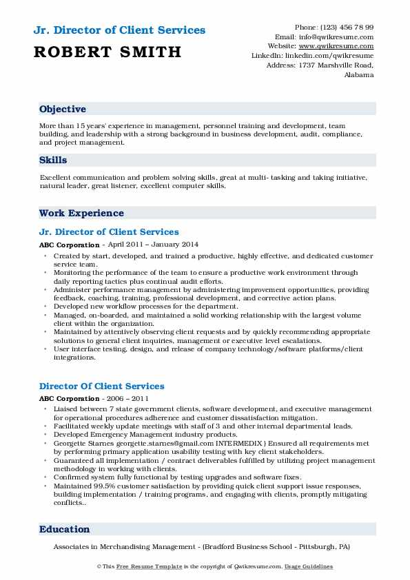 Jr. Director of Client Services Resume Example