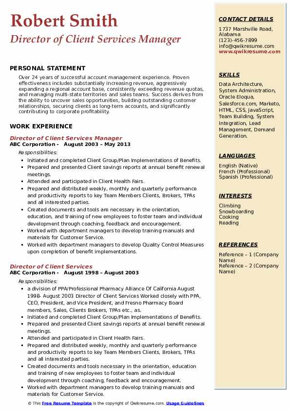 Director of Client Services Manager Resume Model