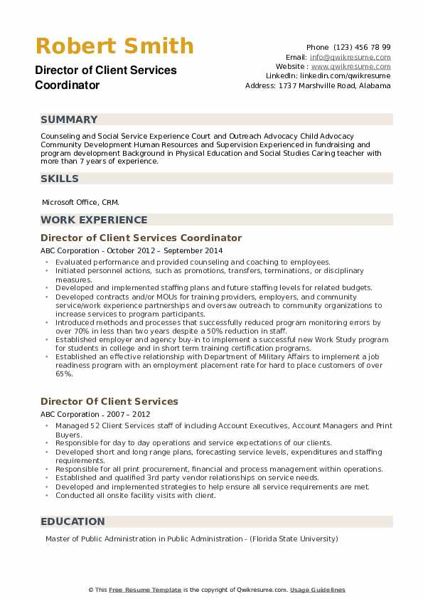 Director of Client Services Coordinator Resume Template
