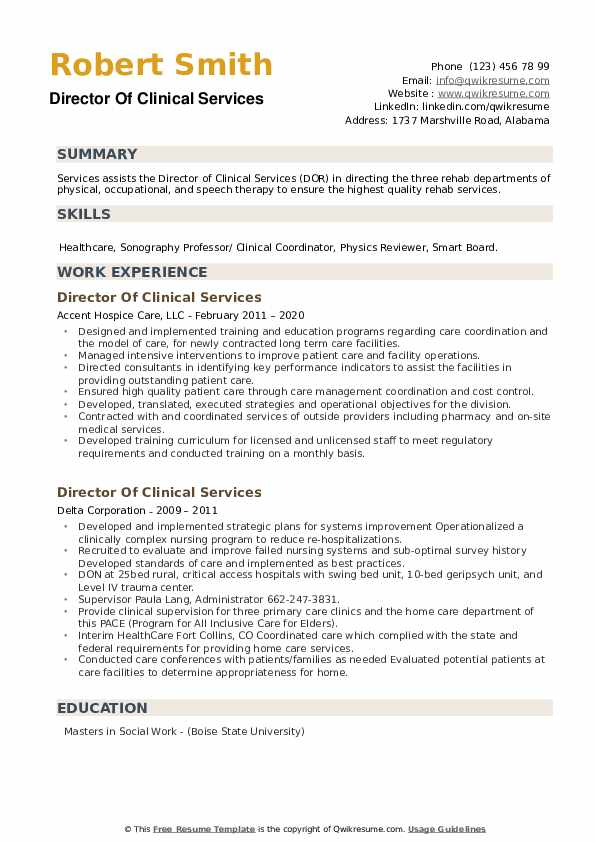 Director Of Clinical Services Resume example