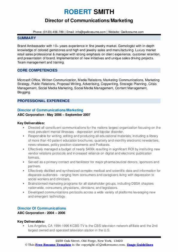 Director of Communications/Marketing Resume Template