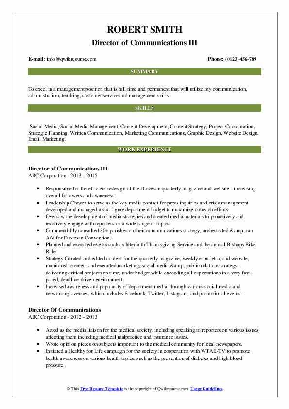 Director of Communications III Resume Format