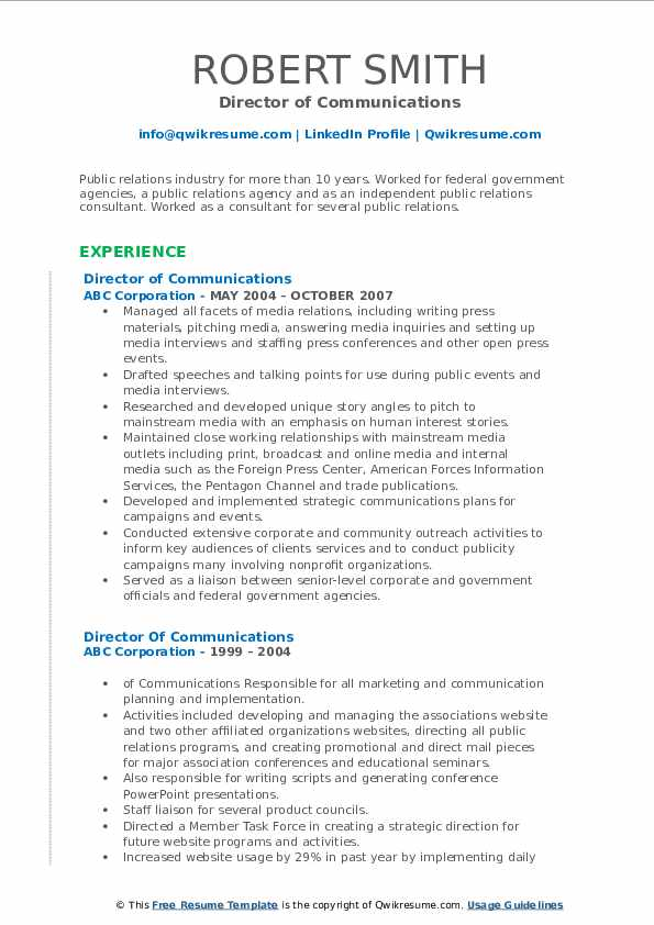 Director of Communications Resume Sample