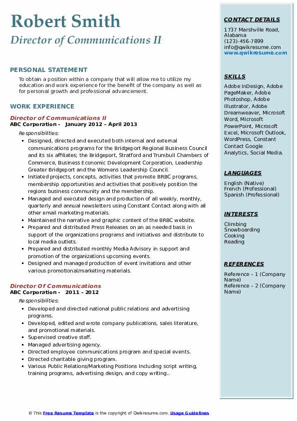 Director of Communications II Resume Template