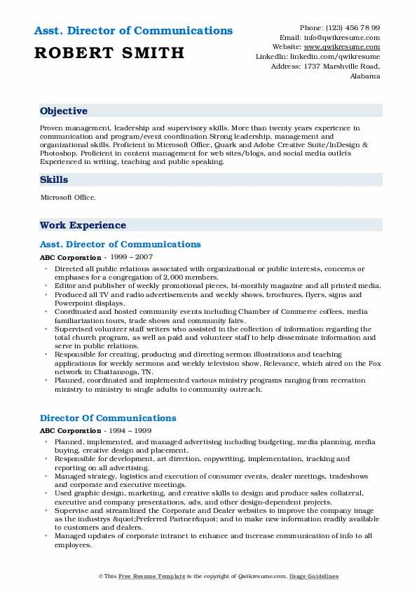 Asst. Director of Communications Resume Format