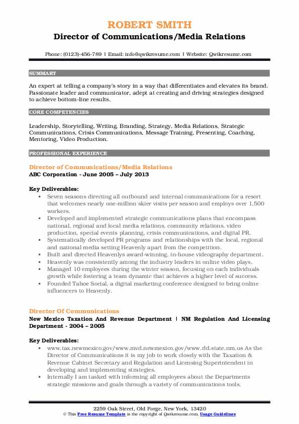 Director of Communications/Media Relations Resume Format