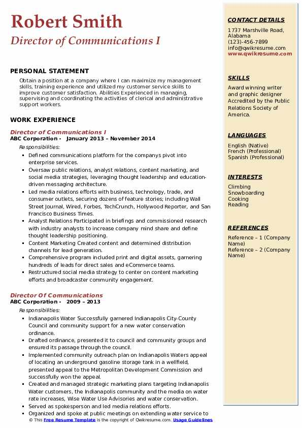 Director of Communications I Resume Template