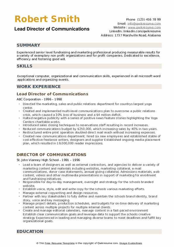 Lead Director of Communications Resume Model