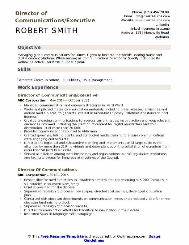 Director of Communications/Executive Resume Model