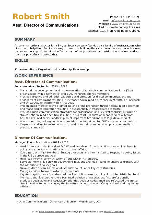 Public Affairs Officer Resume example