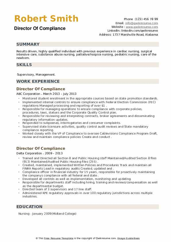 Director Of Compliance Resume example