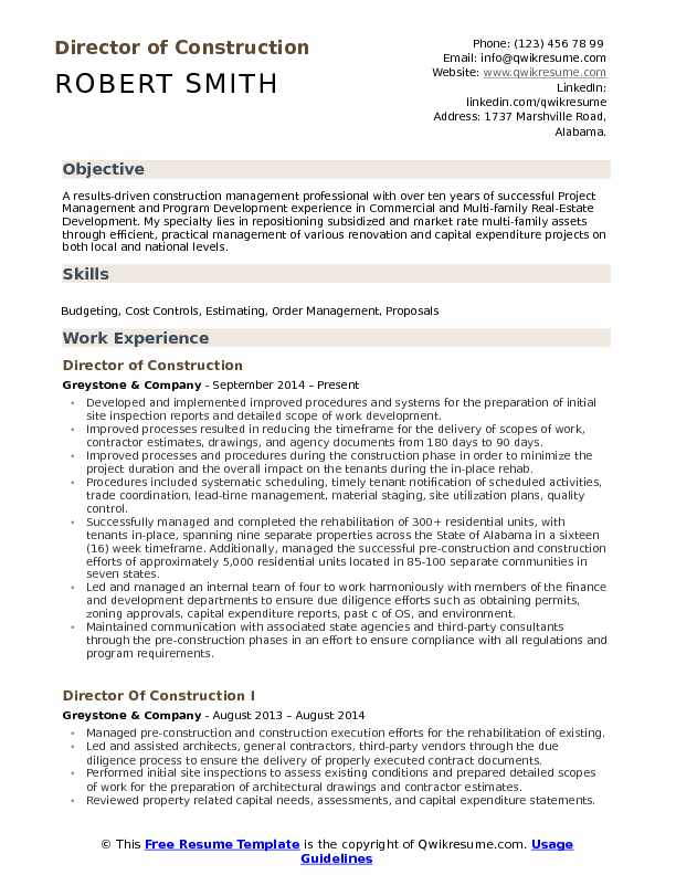 director of construction resume samples