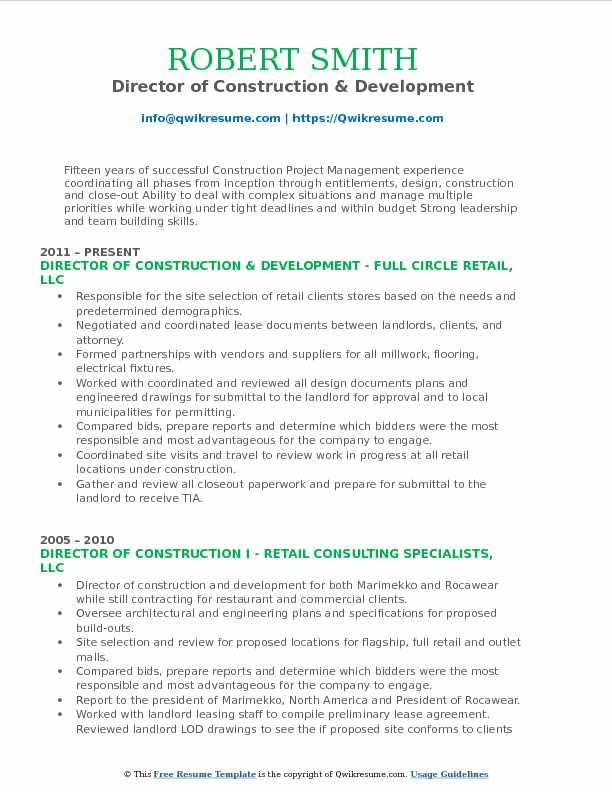 Director of Construction & Development Resume Template
