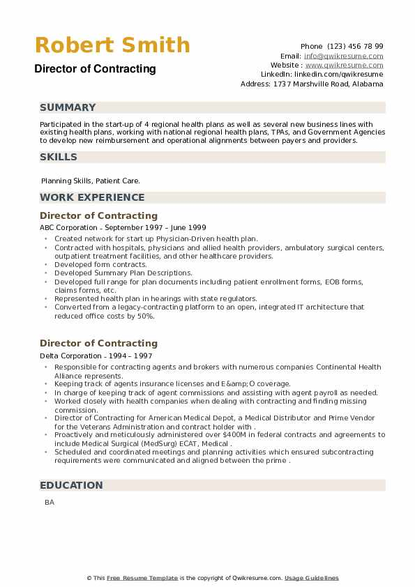 Director of Contracting Resume example