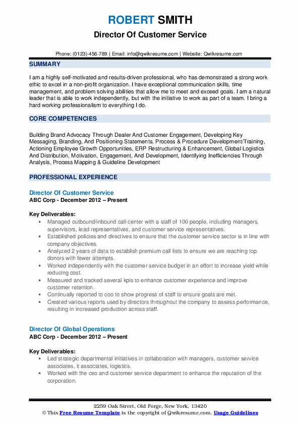 Director Of Customer Service Resume Template