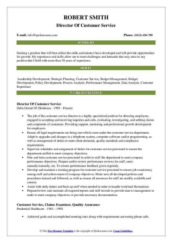 Director Of Customer Service Resume Sample