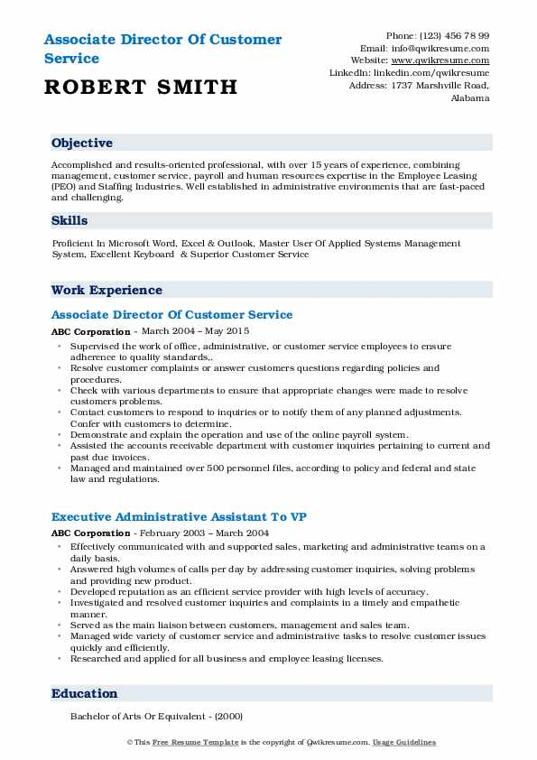 Associate Director Of Customer Service Resume Model