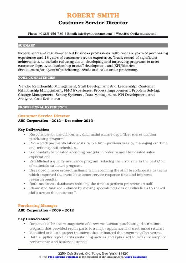 Customer Service Director Resume Format