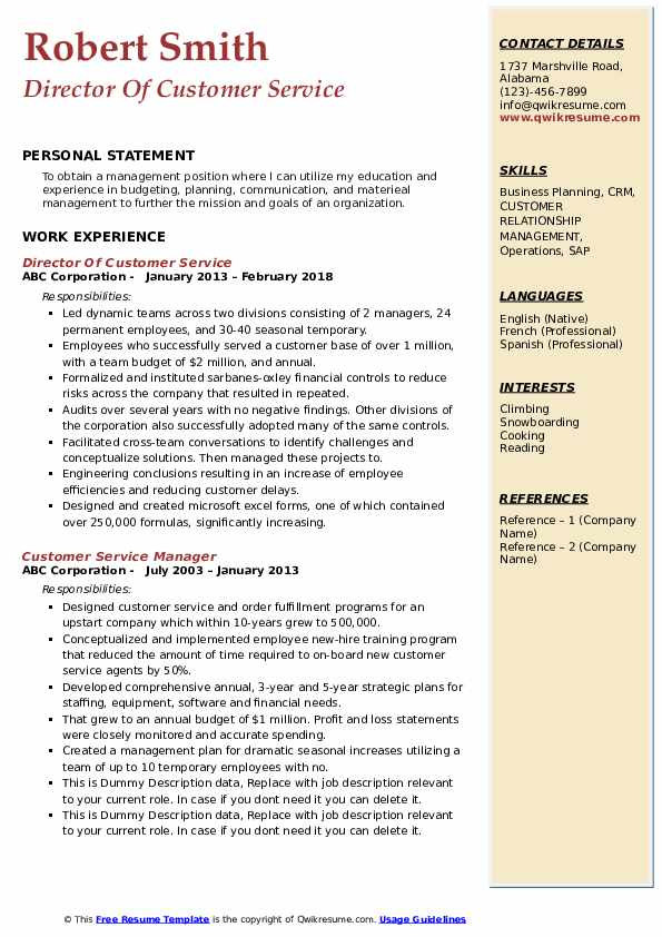 Director Of Customer Service Resume Model