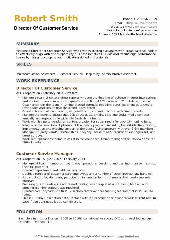 Director Of Customer Service Resume Example
