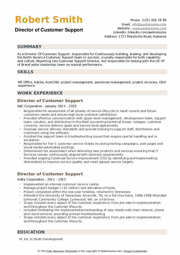 Director of Customer Support Resume example