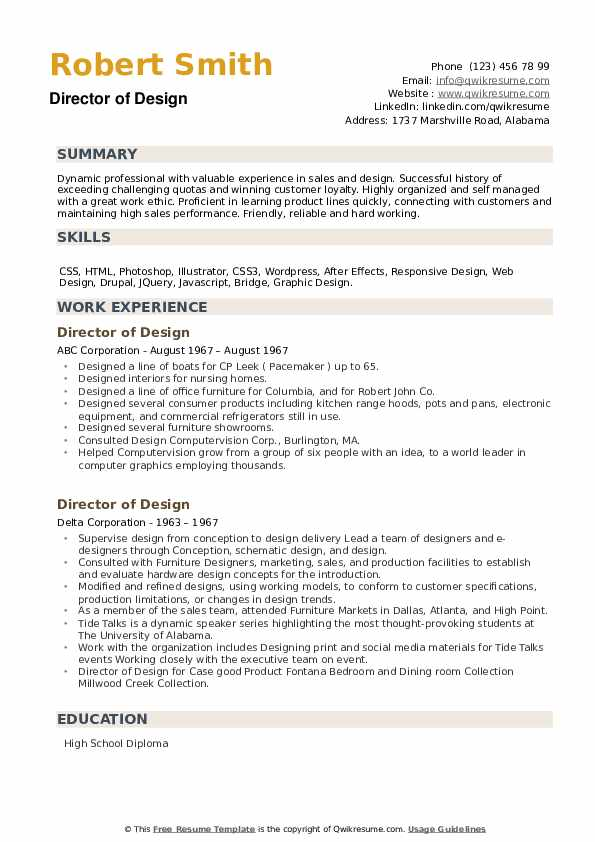 Director of Design Resume example