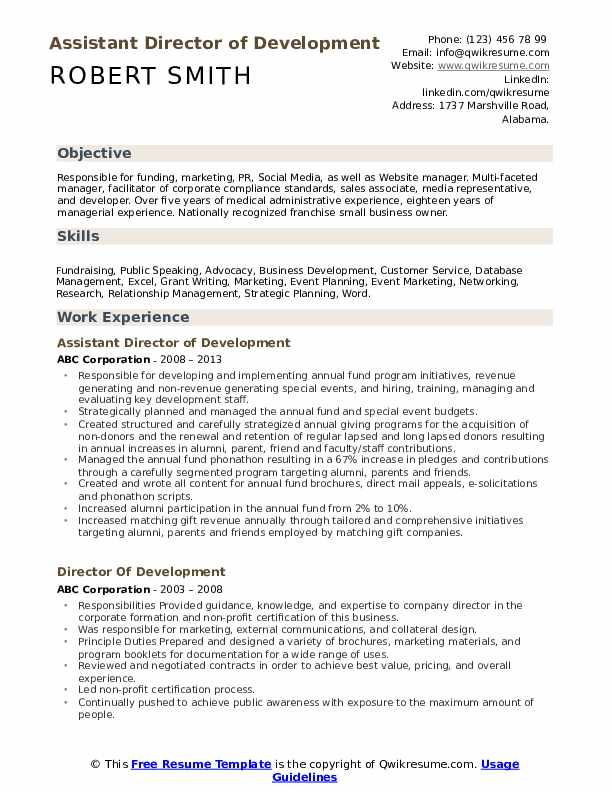 Assistant Director of Development Resume Template