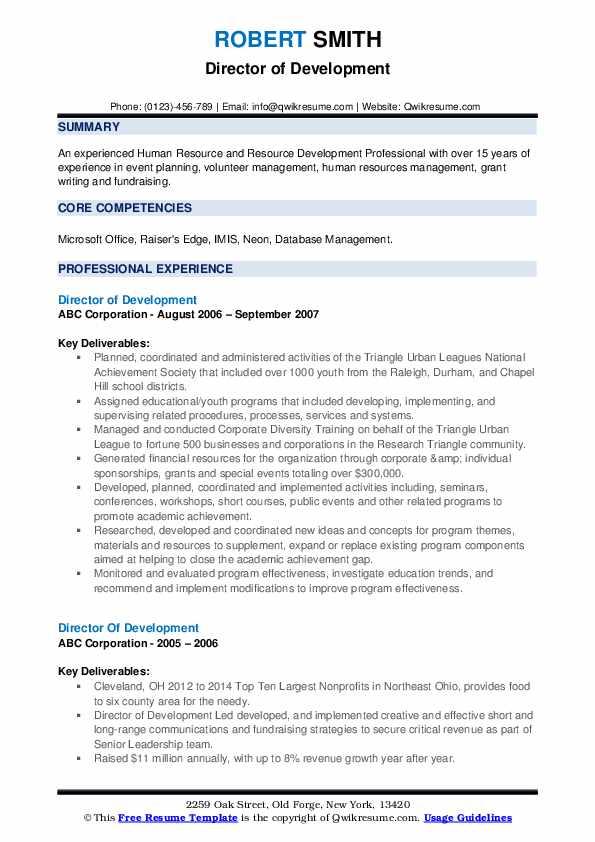 Development Coordinator Resume example