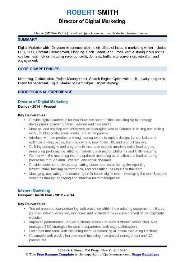 Director of Digital Marketing  Resume Format