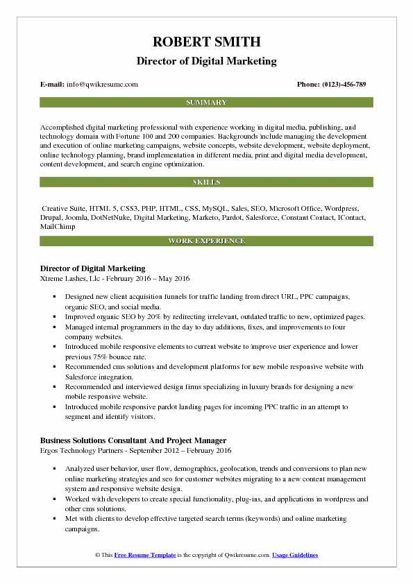 Director Of Digital Marketing Resume Samples QwikResume