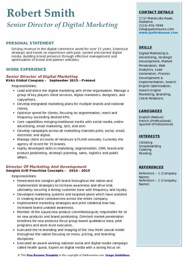 Senior Director of Digital Marketing Resume Format