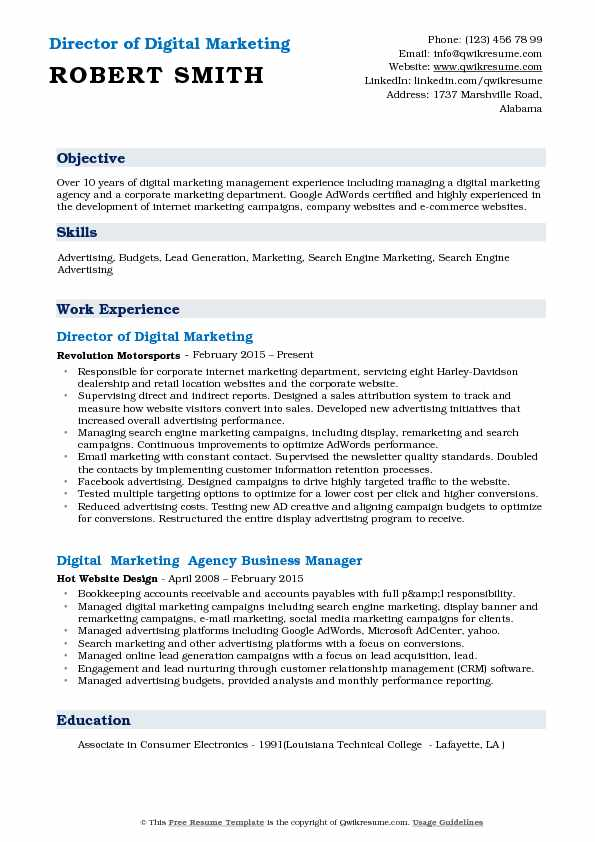 Director of Digital Marketing  Resume Template