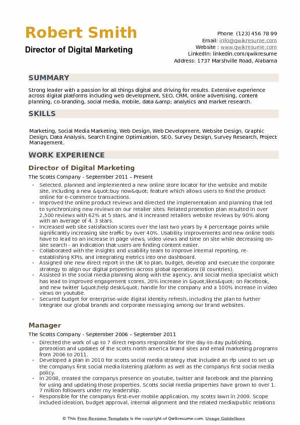 director of digital marketing resume samples