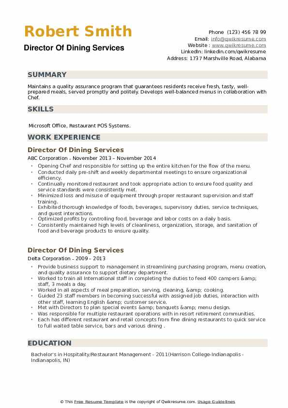 Director Of Dining Services Resume example