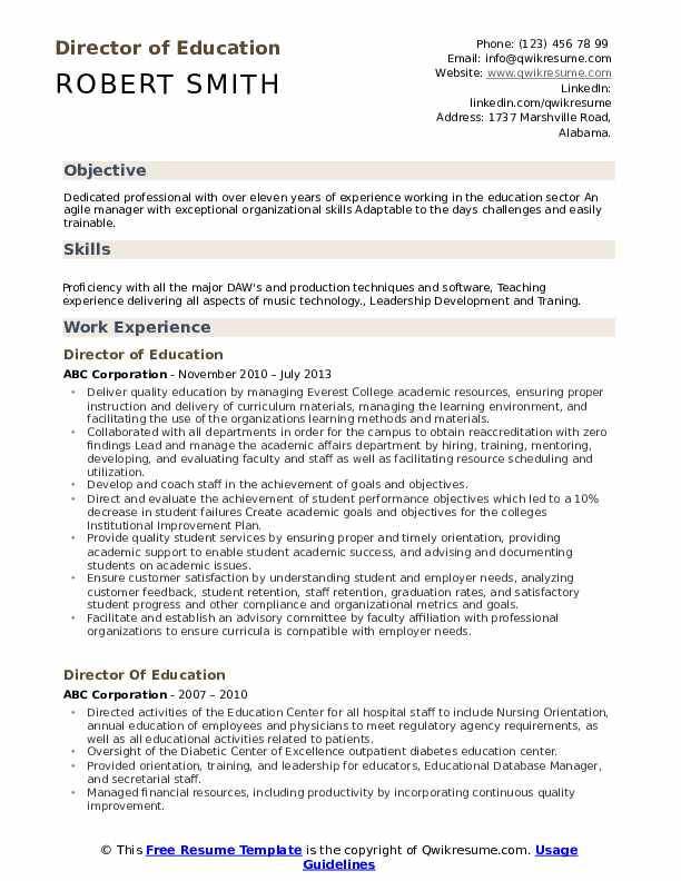 Director Of Education Resume Samples Qwikresume