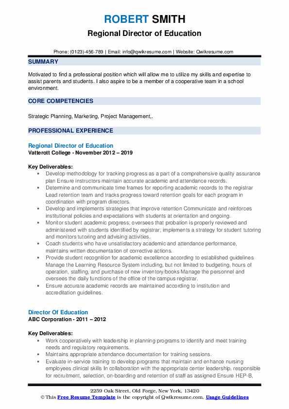 Regional Director of Education Resume Format