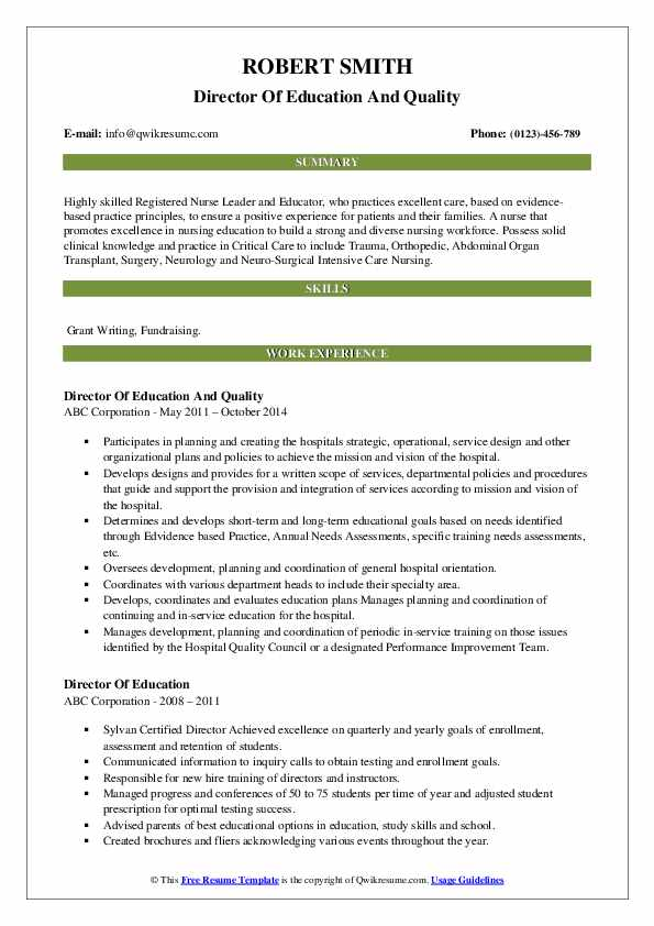 Director Of Education And Quality Resume Format