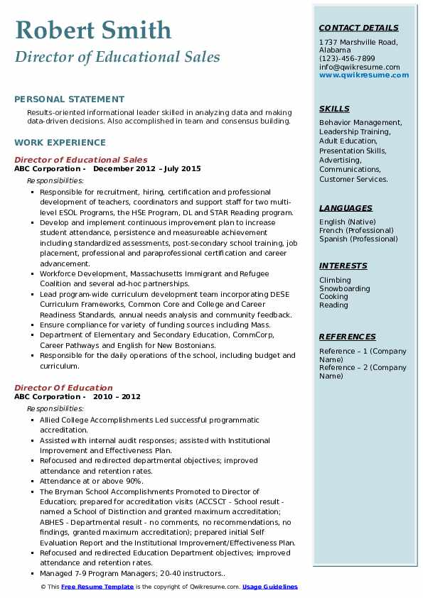 Director of Educational Sales Resume Example