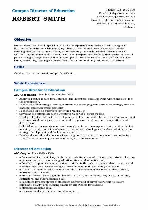 Campus Director of Education Resume Format
