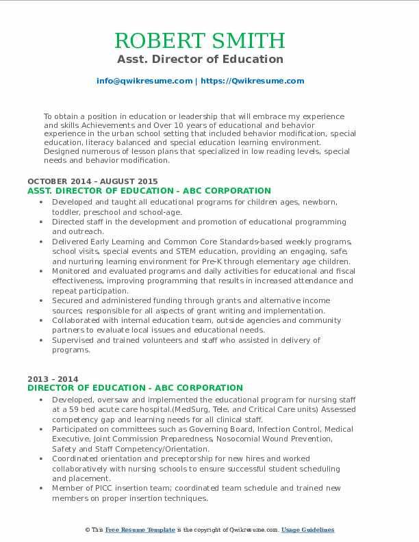 Asst. Director of Education Resume Sample