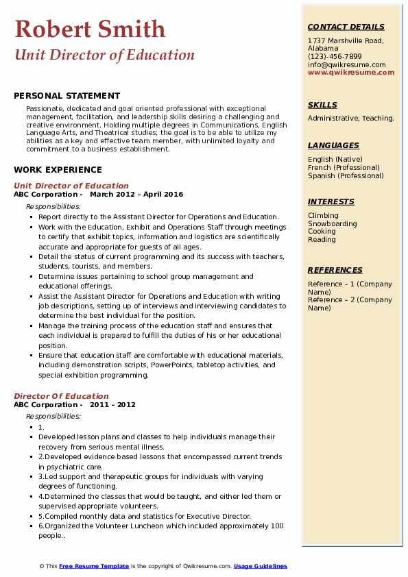 Unit Director of Education Resume Format