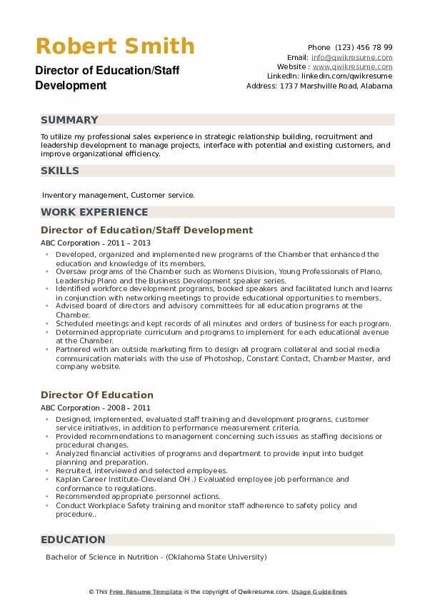 Director of Education/Staff Development Resume Template